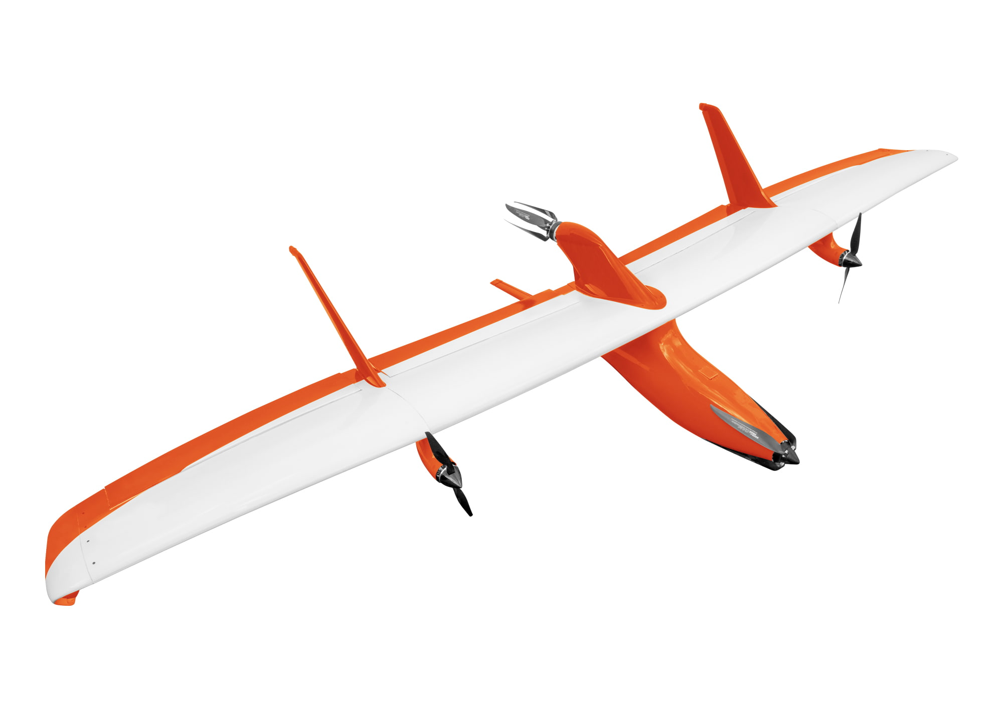 orange and white drone air craft on white background