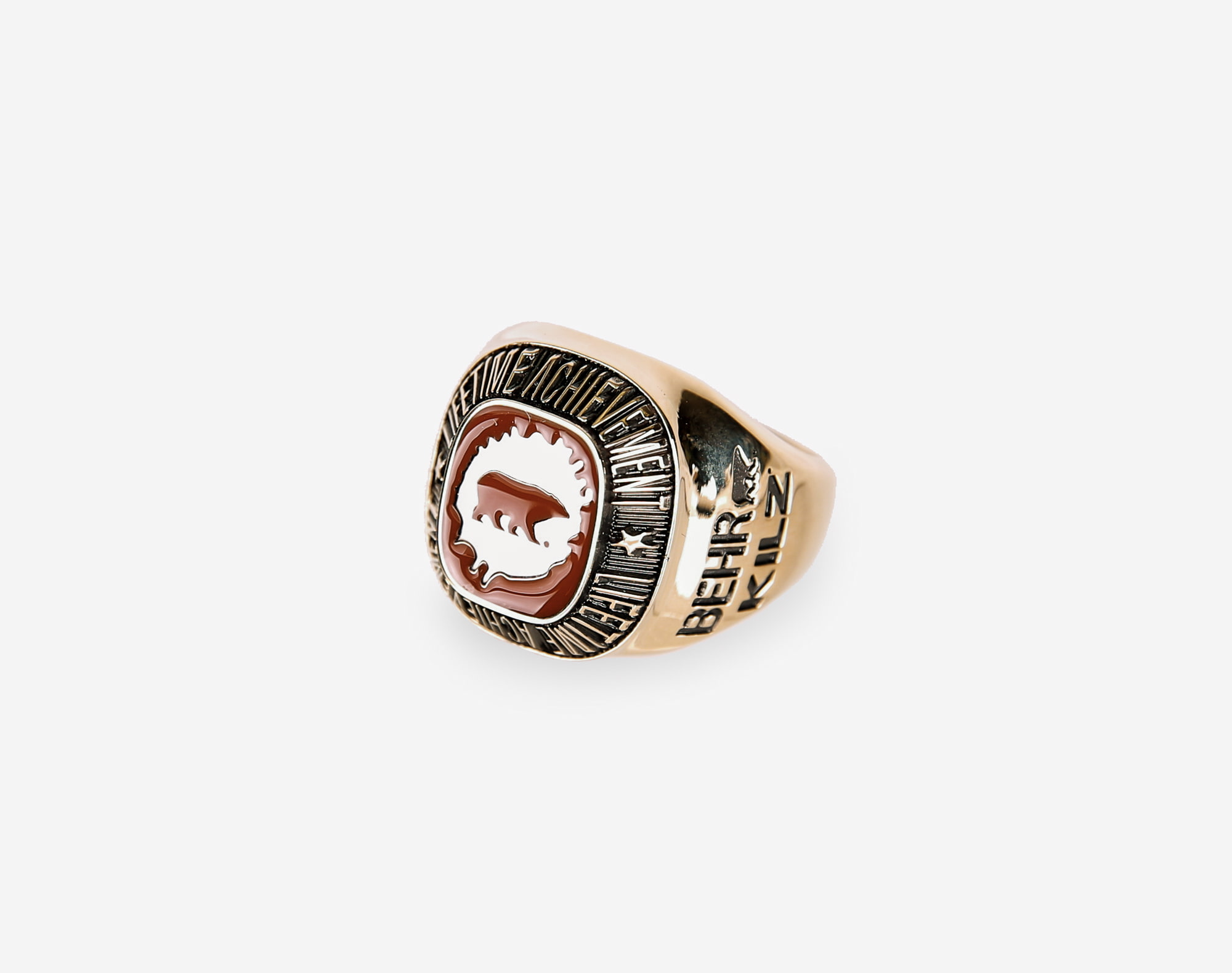 CLass ring shot on white in professional studio