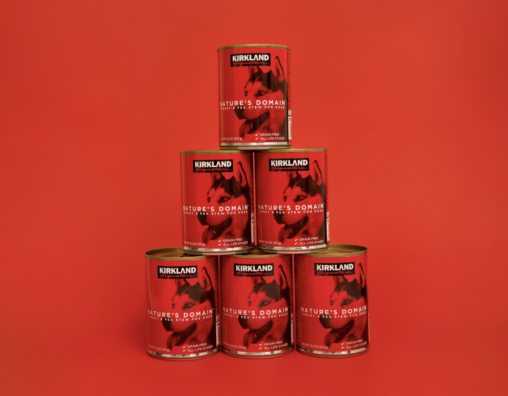 Dog Food Product Photography - Dog food cans stacked on red background